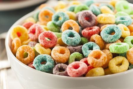 closeup of bowl of fruit ring cereal