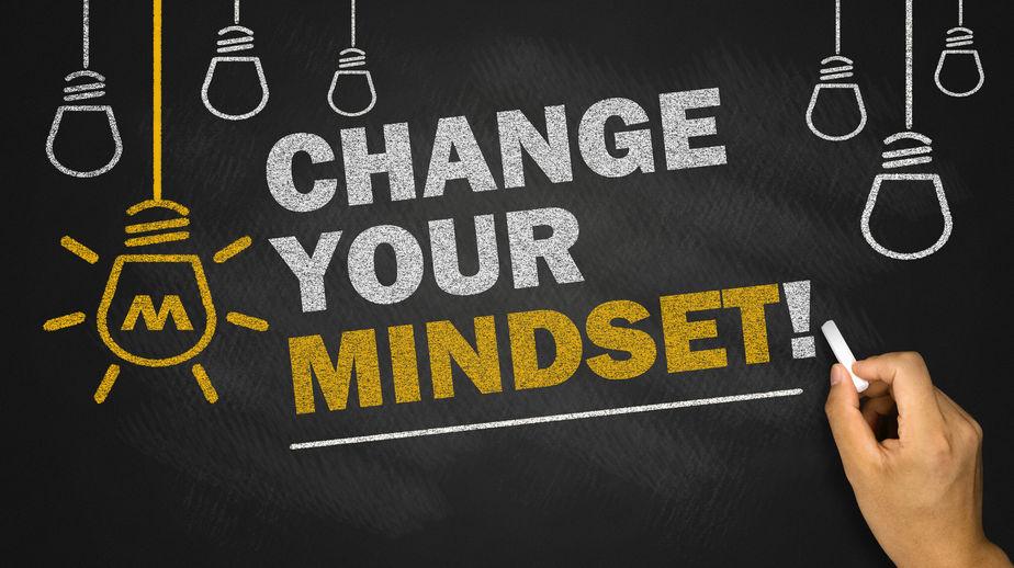 Change your mindset written in chalk on chalkboard