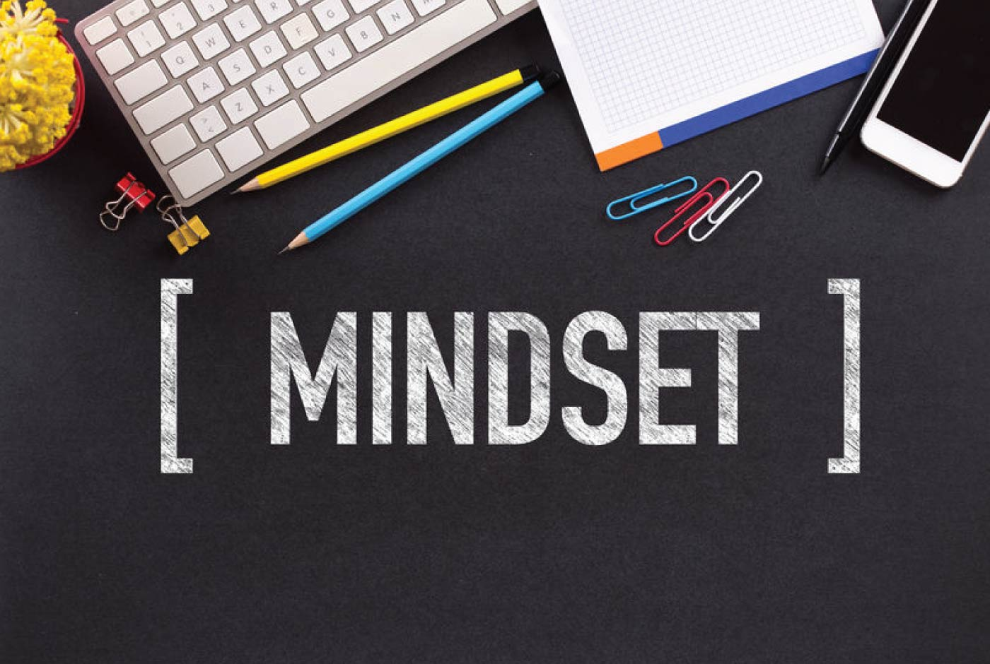 """7-Minute-Sales-Minute-Podcast-Confidence-Game - keyboard, paperclips and word """"mindset"""