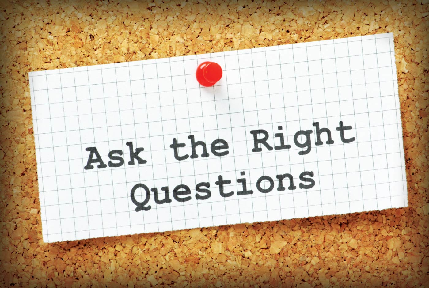 7MinuteSalesMinute-S9-Ep1-Unconscious-Consciousness - cork board with note pinned: ask the right questions