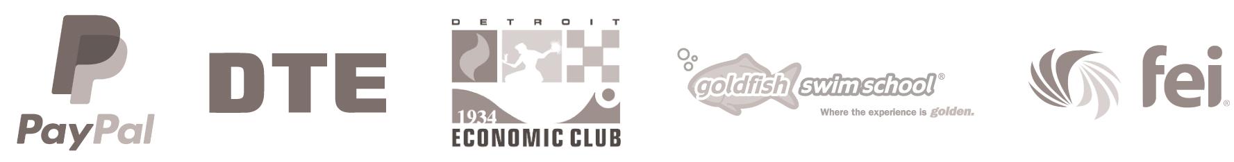 Logos: Paypal, DTE, Detroit Economic Club, Goldfish Swim School and FEI